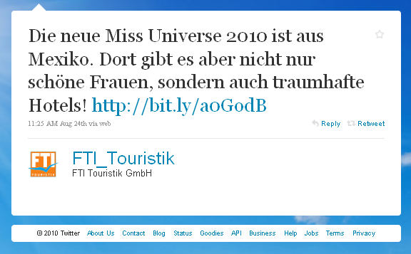 FTI Touristik Twitter Werbung