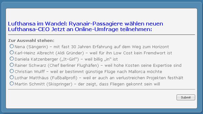 Ryanair Umfrage CEO Lufthansa