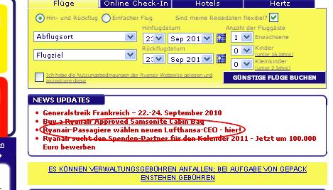 Ryanair Website Lufthansa
