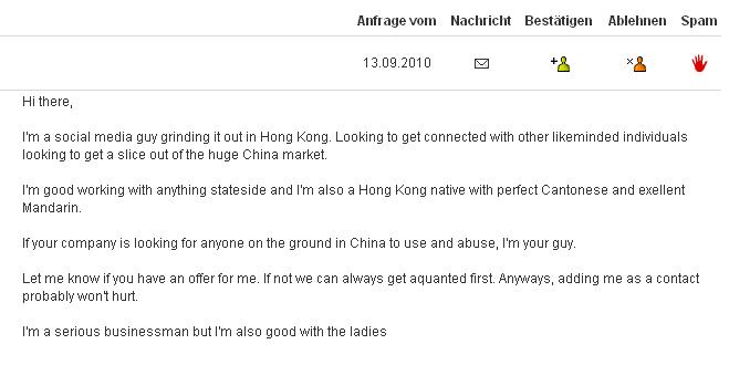 Lustige Xing Kontakt Anfrage