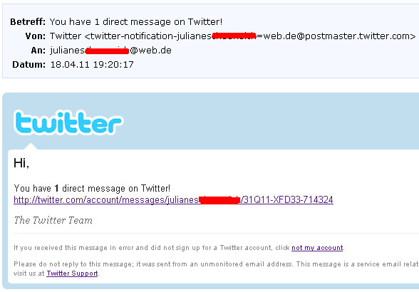 Twitter Spam Email