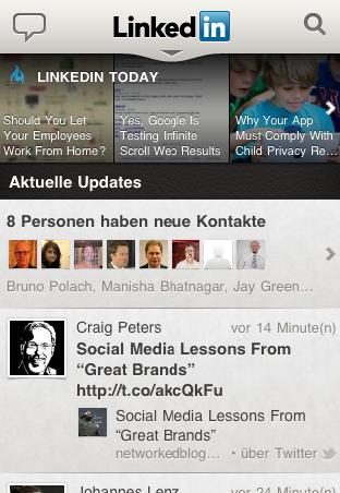 LinkedIn iPhone App 4.0 Timeline