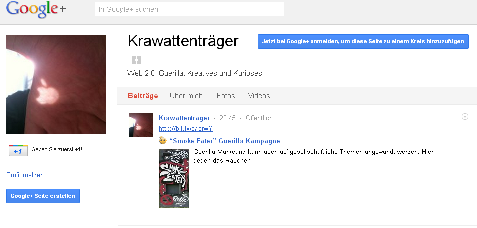 Googleplus Unternehmensprofile