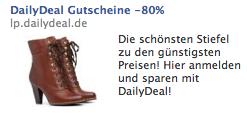 DailyDeal Facebook Ad fuer Schuhe