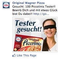 Wagner Pizza Tester Gesucht Facebook Ad