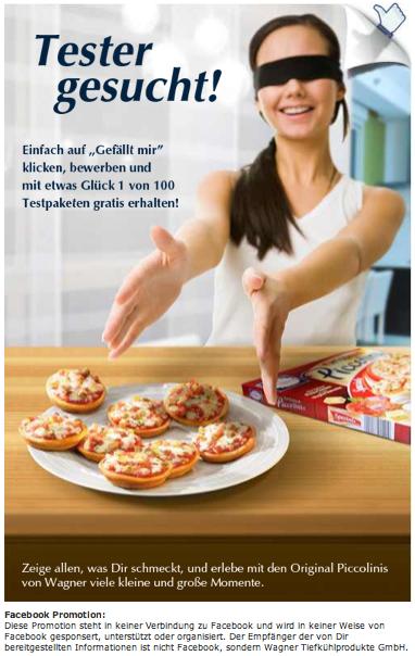 Wagner Pizza Tester auf Facebook gesucht