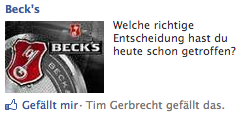 Becks Facebook Werbung