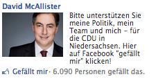 David McAllister Facebook Ad