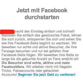 Angebot zum Kaufen von Facebook Fans