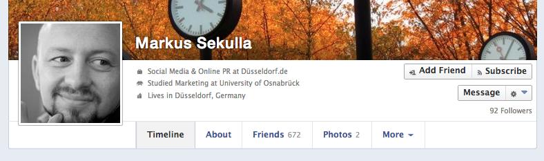 Neue Personenprofil Ansicht auf Facebook