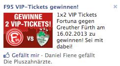 Fortuna Tickets bei Facebook