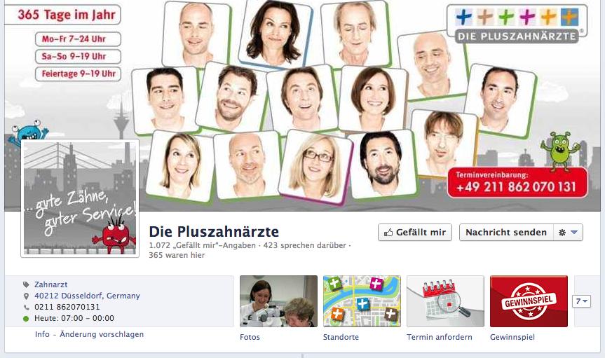 Facebook Profil der Pluszahnärzte