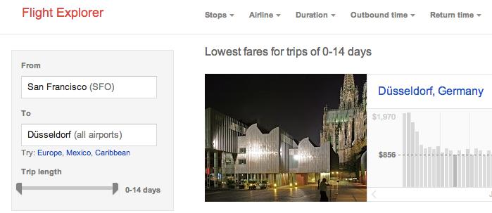 Kölner Dom in Düsseldorf Google Flight Explorer