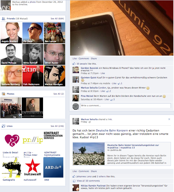 Neues Facebook Timeline Design 2