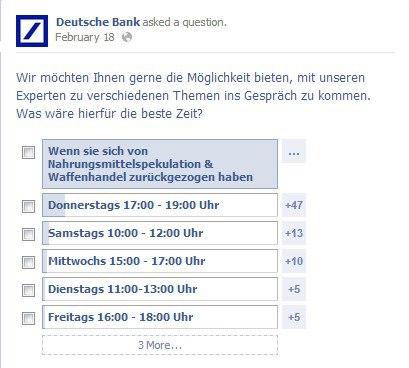 Deutsche Bank Facebook Umfrage